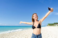 Young woman show the beach. Young woman show the mexican beach Stock Photos