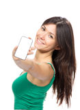 Young woman show display of mobile cell phone with black screen Stock Photography