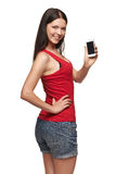 Young woman show display of mobile cell phone Stock Images