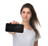 Young woman show display of mobile cell phone with blank screen Stock Image