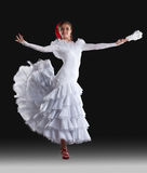 Young woman show white flamenco costume Stock Image