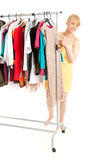 Young woman after shower choosing clothes Royalty Free Stock Photos