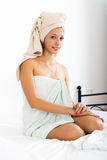 Young woman after  shower in towel Stock Image