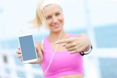 Young Woman Showin Phone Stock Photos