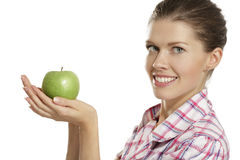 Young woman showing apples Stock Image