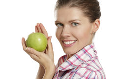Young woman showing apples Royalty Free Stock Images