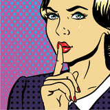 Young Woman Showing Be Silent Sign Pop Art Comic Stock Images