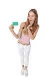 Young woman showing blank credit card. Happy smiling multi-ethni Royalty Free Stock Photo