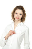 Young woman showing blank name badge Stock Photos