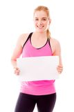 Young woman showing a blank placard Stock Photography