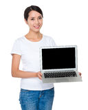 Young woman showing the blank screen of notebook computer Stock Image