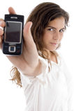 Young woman showing cell phone Royalty Free Stock Photo