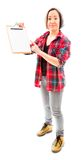 Young woman showing clipboard Stock Photos