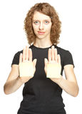 Young woman showing hands with blank stickers Stock Photos