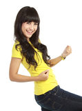 Young woman showing a happy gesture Royalty Free Stock Photos
