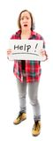 Young woman showing help sign Stock Images