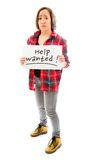 Young woman showing help wanted sign Stock Photos