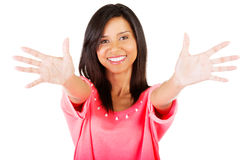 Young woman showing her hands palm Royalty Free Stock Photography