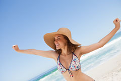 Young woman showing her happiness Royalty Free Stock Images