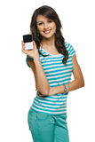 Young woman showing her mobile phone Stock Photos