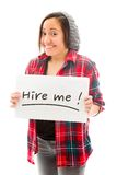 Young woman showing hire me sign Stock Photo