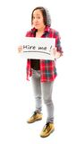 Young woman showing hire me sign Royalty Free Stock Photography