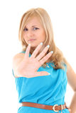 Young woman showing his hand signaling stop Royalty Free Stock Images