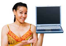Young woman showing laptop Royalty Free Stock Photos