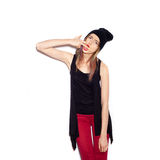 Young woman showing middle finger over white Royalty Free Stock Photography