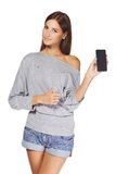 Young woman showing mobile cell phone Royalty Free Stock Image