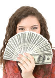 Young woman showing money Stock Image
