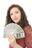Young woman showing money Stock Photos