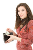 Young woman showing money Stock Images