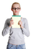 Young woman showing notepad.  Stock Photography