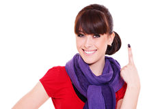 Young woman showing number one Royalty Free Stock Photos