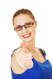 Young woman showing OK. Stock Photos