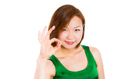 Young woman showing OK hand sign smiling happy Royalty Free Stock Photo