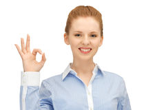 Young woman showing ok sign. Bright picture of young woman showing ok sign stock photos