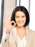 Young woman showing ok sign. Bright picture of young woman showing ok sign stock image