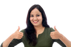 Young woman showing OK sign Royalty Free Stock Image
