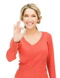 Young woman showing ok sign Royalty Free Stock Photography