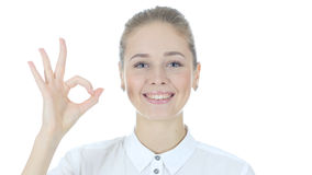 Young Woman Showing Ok Sign, White Background Stock Photos