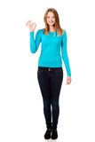 Young woman showing perfect sign Stock Photo