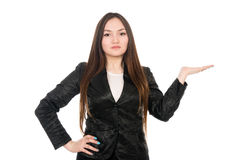 Young woman showing product with open hand palm Stock Photos