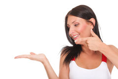 Young Woman Showing Product Open Hand Palm Excited Expression