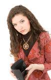 Young woman showing purse Stock Image