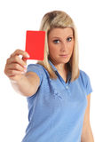 Young woman showing a red card. Attractive young woman showing a red card. All on white background Stock Photo