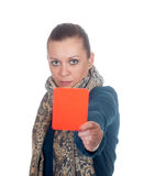 Young woman showing red card Stock Images