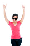 Young Woman Showing The Rocker Hand Sign Royalty Free Stock Photography