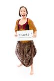 Young woman showing thanks sign on white background Stock Image